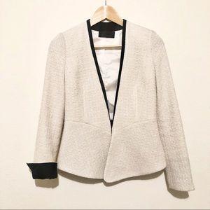 BLAQUE LABEL Collarless Cream Tweed Blazer XS